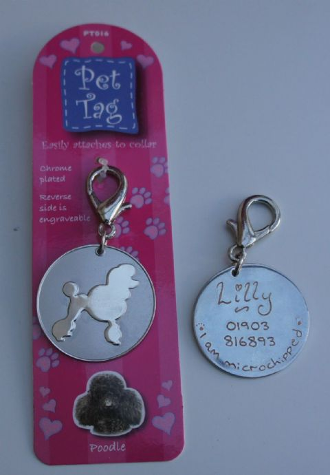 POODLE  - CHROME  TAG ENGRAVED FREE